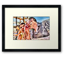 Two Zombies Eat a Foot Framed Print