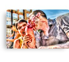Two Zombies Eat a Foot Canvas Print