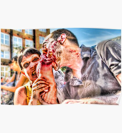 Two Zombies Eat a Foot Poster