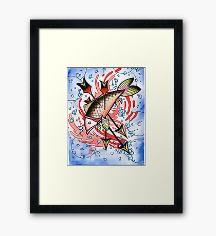 bloody koi with arrows Framed Print