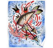 bloody koi with arrows Poster