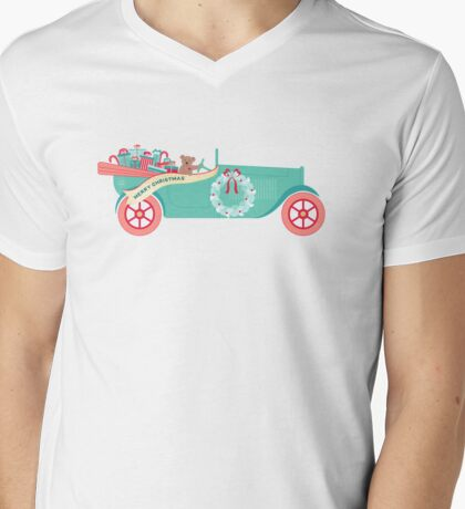 Christmas Teddy Car Mens V-Neck T-Shirt
