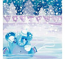 Slippery - Rondy the Elephant on ice Photographic Print