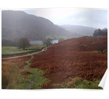 Lake District hills in autumn mist Poster