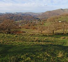 Lake District, autumn sun lights up the countryside by Grace Johnson