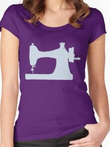 Sewing Machine, Polka Dots - Blue White Women's Fitted Scoop T-Shirt