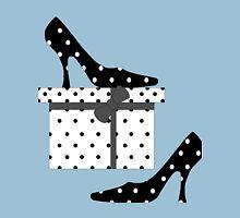 High Heel Shoes, Polka Dots, Gift Box - Black White Unisex T-Shirt