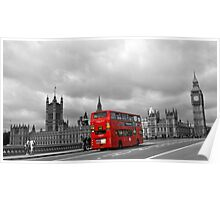Red bus in London Poster