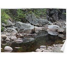 Boulders reflecting in a pond in the river Øksna, Norway. Poster