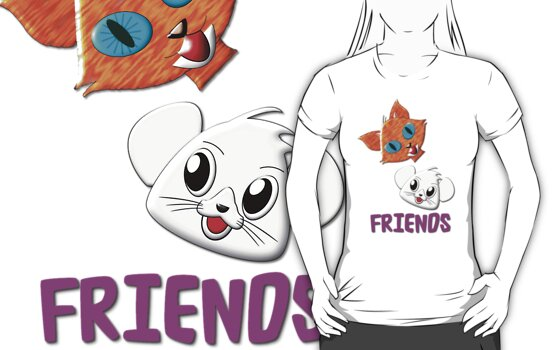 Pussy Cat and Mouse FRIENDS T-shirt by Dennis Melling