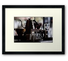 Not a teapot short and stout, coffee pot with caffiene clout! Framed Print