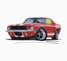Ford Mustang (1967) Red (White Stripes) One Piece - Long Sleeve