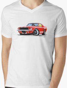 Ford Mustang (1967) Red (White Stripes) Mens V-Neck T-Shirt