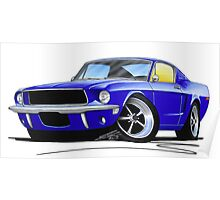 Ford Mustang (1967) Blue Poster