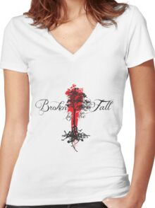 Broken by the Fall blk and red tree design Women's Fitted V-Neck T-Shirt