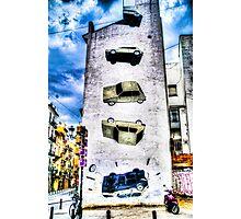 Falling Car Street Art in Valencia, Spain Photographic Print