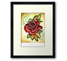 red, red rose tattoo Framed Print