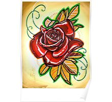 red, red rose tattoo Poster