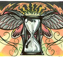 time flies, beetle winged hourglass tattoo design by resonanteye