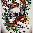 snake with skull, tattoo design by resonanteye