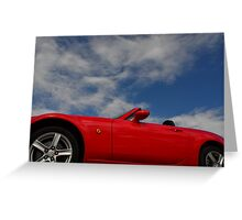 Blue skies, red hot body Greeting Card