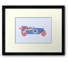 Birthday Teddy car in Blue Framed Print