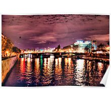 Night View of a Bridge in Paris, France Poster