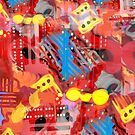 Dominos Abstract with Red by susan stone