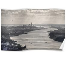 Black and White Aerial View of New York City, USA Poster