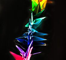 Multicolor Origami Birds Micro Photography by Noam  Kostucki