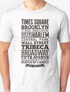 Typographic Streets of New York T-Shirt