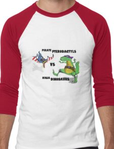 Pirate Pterodactyls vs Ninja Dinosaurs Men's Baseball ¾ T-Shirt