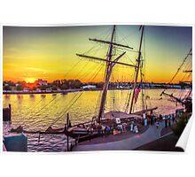 Tall Ship Sundown Poster