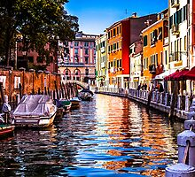 Canal and Cafe in Venice  by MikeAndrew