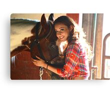 A Girl and Her Horse Canvas Print