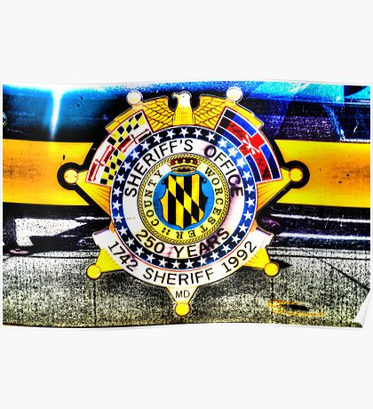 Sheriff Badge on a Police Car in Assateague, Maryland, USA Poster