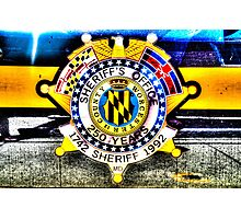 Sheriff Badge on a Police Car in Assateague, Maryland, USA Photographic Print