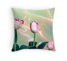 Pink Tulips Painted with Light Throw Pillow