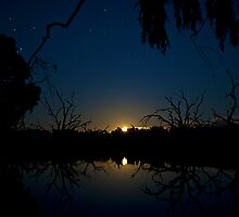Moonrise over Eight Mile Lagoon by Richard  Windeyer