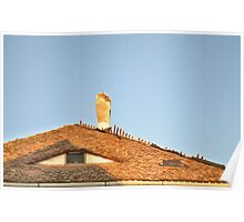 Old Roof with  A Chimney and A Triangular Eye-Like Window Poster