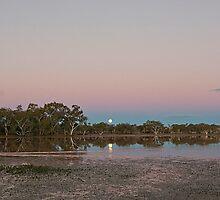 Full Moon Rising over Lake Houdraman by Richard  Windeyer