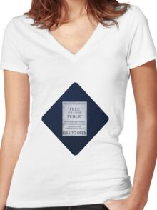 Doctor Who- Tardis Car Sticker  Women's Fitted V-Neck T-Shirt