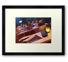 up market restaurant table Framed Print