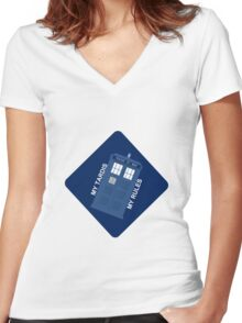 My Tardis My Rules Car Sticker Women's Fitted V-Neck T-Shirt