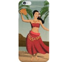 Hawaiian Vintage Hula Girl Distressed Postcard iPhone Case/Skin