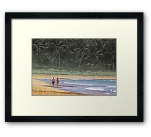 Couple on Beach holding hands Framed Print