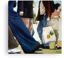 Downtown - busy day figurative oil painting Canvas Print