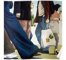 Downtown - busy day figurative oil painting Poster