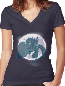 Snowdrop on the moon Women's Fitted V-Neck T-Shirt