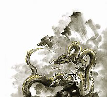 Mountain dragon sumi-e ink painting dragon art by Mariusz Szmerdt